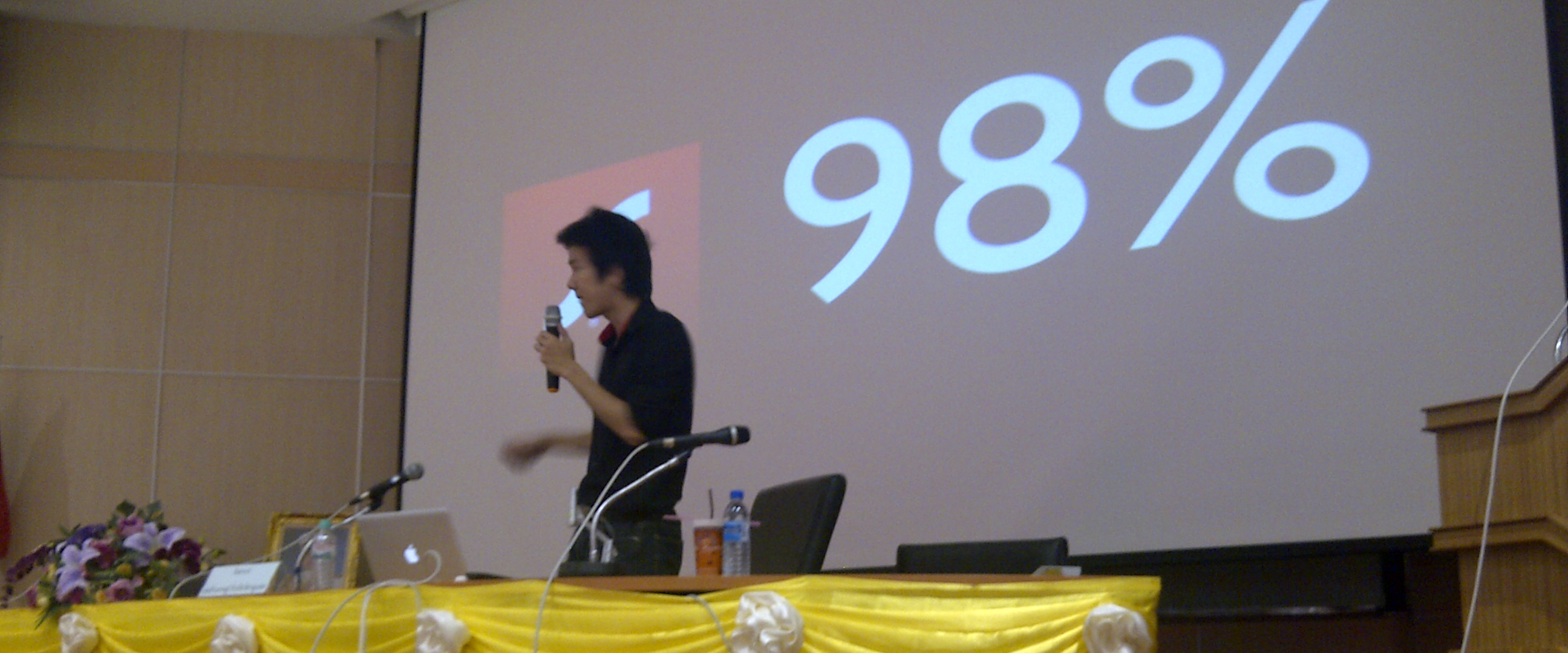 Teerasej is speaking about adobe flash platform - multi-screen at pibulsongkram rajaphat university 2011
